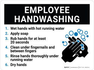 Employee Handwashing with Icon Landscape - Wall Sign