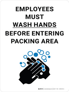 Employees Must Wash Hands Before Entering Packing Area with Icon Portrait - Wall Sign