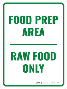 Food Prep Area Raw Food Only Portrait - Wall Sign