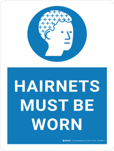 Hairnets Must Be Worn with Icon Portrait - Wall Sign