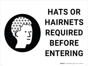 Hats or Hairnets Required Before Entering with Icon Landscape - Wall Sign