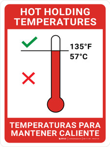 Hot Holding Temperatures Bilingual  with Icon Portrait - Wall Sign