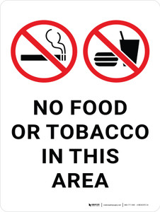 No Food Or Tobacco In This Area with Icon Portrait - Wall Sign
