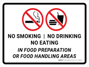 No Smoking/No Drinking/No Eating In Food Preparation Or Food Handling Areas Landscape - Wall Sign