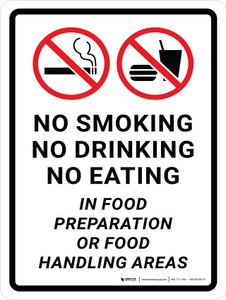 No Smoking/No Drinking/No Eating In Food Preparation Or Food Handling Areas Portrait - Wall Sign