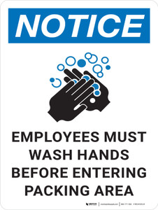 Notice: Employees Must Wash Hands Before Entering Packing Area with Icon Portrait - Wall Sign