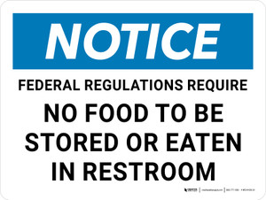 Notice: Federal Regulations - No Food To Be Stored or Eaten in Restroom Landscape - Wall Sign