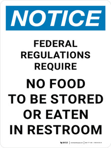 Notice: Federal Regulations - No Food To Be Stored or Eaten in Restroom Portrait - Wall Sign
