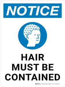 Notice: Hair Must Be Contained Portrait - Wall Sign
