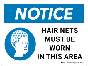 Notice: Hair Nets Must Be Worn In This Area Landscape - Wall Sign
