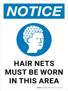 Notice: Hair Nets Must Be Worn In This Area with Icon Portrait - Wall Sign