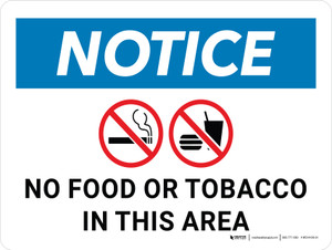 Notice: No Food or Tobacco In This Area Landscape - Wall Sign