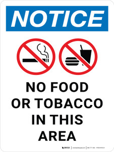 Notice: No Food or Tobacco in This Area Portrait - Wall Sign