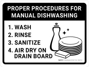 Proper Procedures For Manual Dishwashing Landscape with Icon - Wall Sign