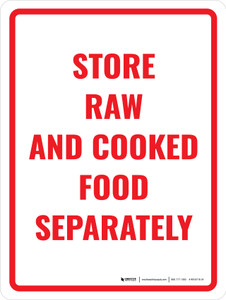 Store Raw And Cooked Food Separately Portrait - Wall Sign