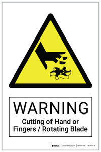 Warning: Cutting of Hand or Fingers / Rotating Blade Hazard - Label