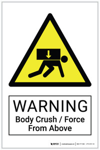 Warning: Body Crush / Force From Above Hazard - Label