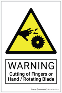 Warning: Cutting of Fingers or Hand / Rotating Blade Hazard - Label