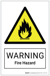 Warning: Fire Hazard - Label