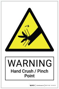 Warning: Hand Crush / Pinch Point Hazard - Label