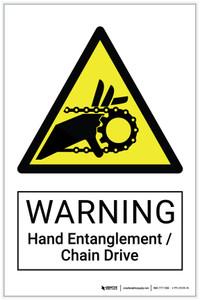 Warning: Hand Entanglement / Chain Drive Hazard - Label