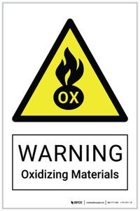 Warning: Oxidizing Materials Hazard - Label