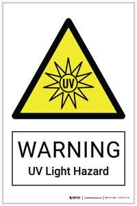 Warning: UV Light Hazard - Label