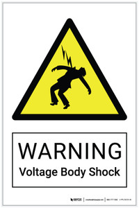 Warning: Voltage Body Shock Hazard - Label