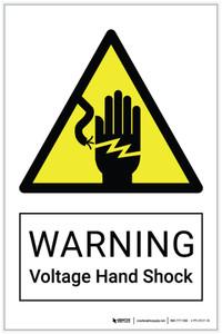 Warning: Voltage Hand Shock Hazard - Label