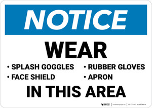 Notice: Wear Goggles Face Shield Gloves Apron in This Area - Wall Sign