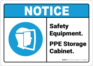 Notice: Safety Equipment PPE Storage Cabinet - Wall Sign