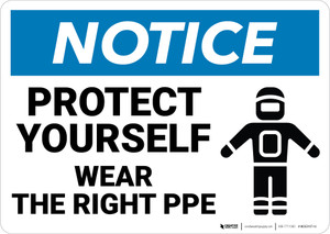 Notice: Protect Yourself Wear PPE - Wall Sign