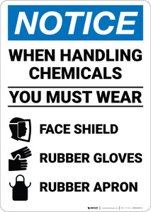 Notice: Chemical Handling Wear PPE - Wall Sign