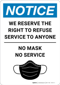 Notice: We Reserve the Right to Refuse Service - No Mask/No Service with Icon Portrait - Wall Sign