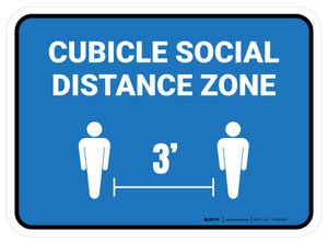 Cubicle Social Distance Zone 3ft Blue Rectangle - Floor Sign