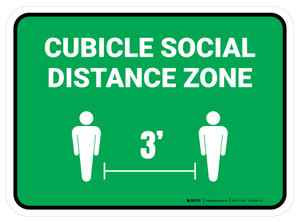 Cubicle Social Distance Zone 3ft Green Rectangle - Floor Sign