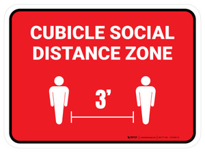 Cubicle Social Distance Zone 3ft Red Rectangle - Floor Sign