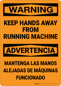 Hazard: Keep Hands Away From Running Machine Bilingual Spanish - Wall Sign