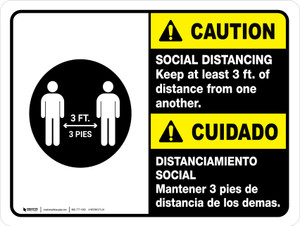 Caution: Social Distancing Keep 3ft Bilingual with Icon ANSI Landscape - Wall Sign
