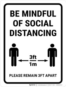 Be Mindful Of Social Distancing 3ft Portrait - Wall Sign