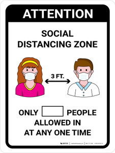 Attention Social Distancing Zone with 3ft Icons Portrait - Wall Sign