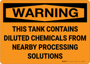 Hazard: This Tank Contains Diluted Chemicals - Wall Sign