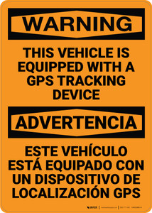 Hazard: Vehicle Equipped With GPS Tracking Device - Wall Sign