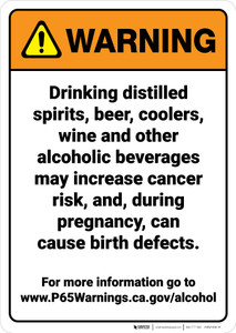 Warning: Alcoholic Beverage Exposure Prop 65 - Wall Sign