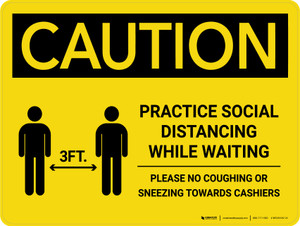 Caution: Practice Social Distancing While Waiting with 3ft Icon Landscape - Wall Sign