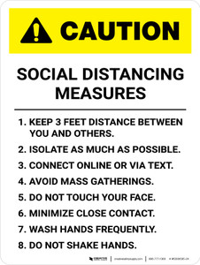 Caution: Social Distancing Measures 3ft Portrait - Wall Sign