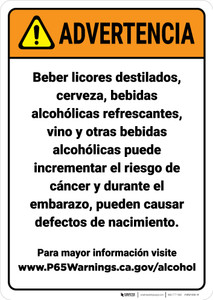 Warning: Alcoholic Beverage Exposure Spanish Prop 65 - Wall Sign
