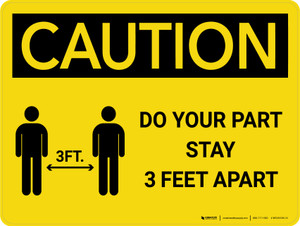 Caution: Do Your Part Stay 3 Feet Apart with Icon Landscape - Wall Sign