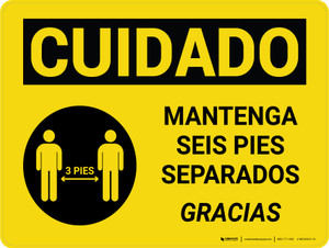 Caution: Maintain 3 Feet Bilingual Spanish with Icon Landscape - Wall Sign