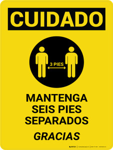 Caution: Please Maintain 3 Feet Spanish with Icon Portrait - Wall Sign